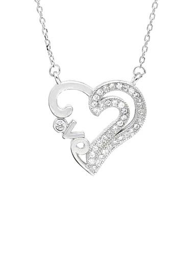 Enesstore Gümüş Zirkon Taşlı Love Yazılı Kalp Bayan Gümüş Kolye Beyaz